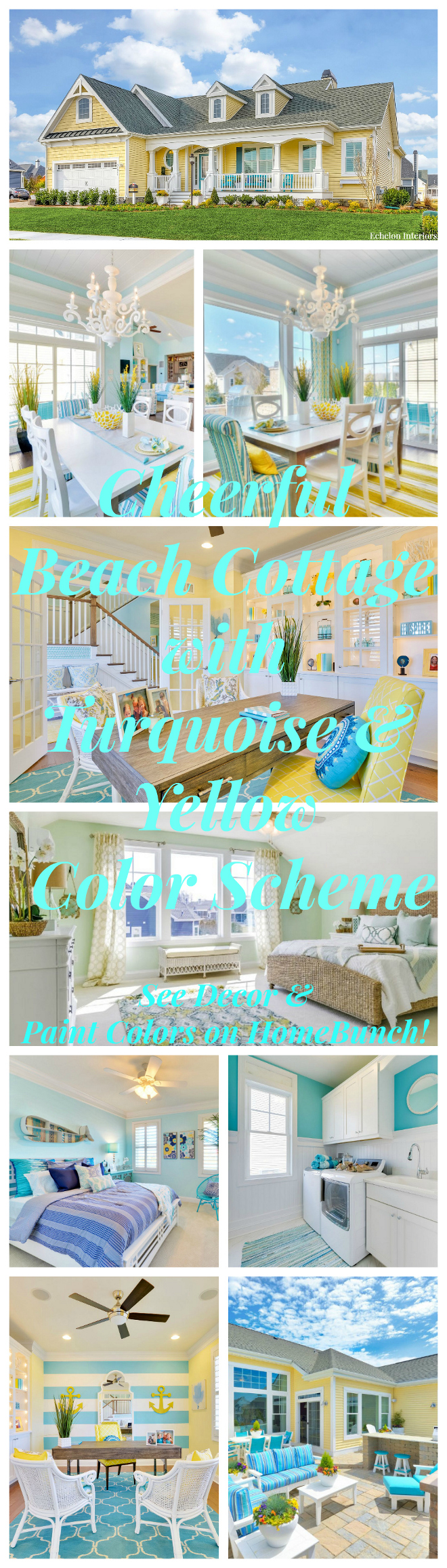 Cheerful Beach Cottage with Turquoise Color Scheme. Cheerful Beach Cottage with Turquoise Color Scheme ideas. See paint colors and decor sources on Home Bunch #CheerfulBeachCottage #Turquoise #ColorScheme Echelon Interiors