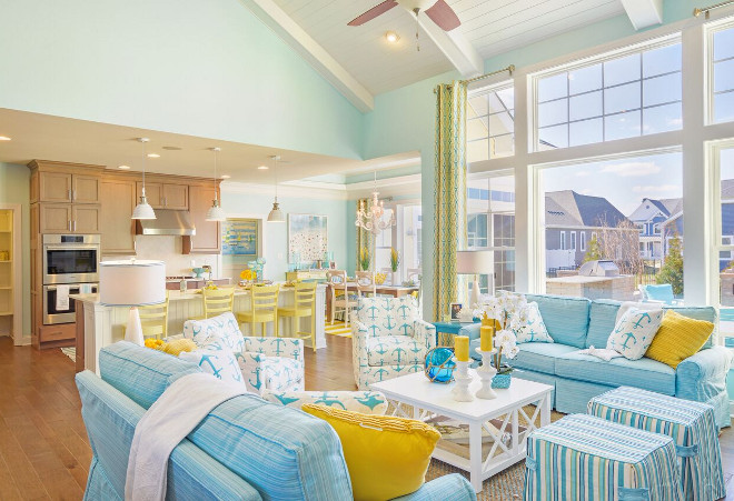 Coastal Cottage Interiors. Coastal Cottage Interior Ideas. I love how much natural light this space gets. The turquoise and yellow color scheme works beautifully against the wall color. Coastal Cottage Interiors. Coastal Cottage Interiors #CoastalCottageInteriors Echelon Custom Homes