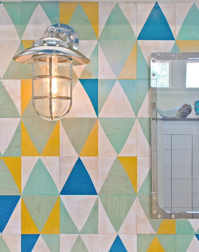Stained wood. A colorful stained wood tile is used as backsplash in this bathroom. It actually reminds me of a vintage quilt Wood tile is by Moonish. #woodtile #tile #colorful #backsplash Younique Designs
