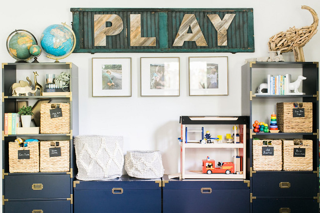 DIY Play Sign. DIY Wood Play Sign. This room has many DIYs but my favorite is the P-L-A-Y sign. The barnwood letters are from Etsy. #playroom #playsign #walldecor Home Bunch Beautiful Homes of Instagram @finding__lovely