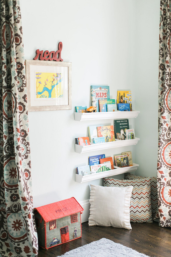 DIY Rain gutter book shelves. DIY Rain gutter bookshelves. We love to promote reading with our boys and they both love books. My husband installed the rain gutter book shelves. A DIY inspired from Pinterest. #DIYRaingutterbookshelves #Raingutterbookshelves Home Bunch Beautiful Homes of Instagram @finding__lovely