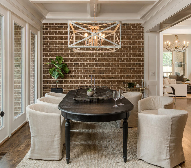 Dining Room Exposed Brick Accent Wall. Neutral dining room with reclaimed brick accent wall and linen dining chairs. Dining Room Exposed Brick Accent Wall Ideas. Farmhouse dining room with reclaimed brick wall #DiningRoom #ExposedBrick #ExposedBrickAccentWall #BrickAccentWall #BrickIdeas #Farmhousebrick #reclaimedbrick Domaine Development