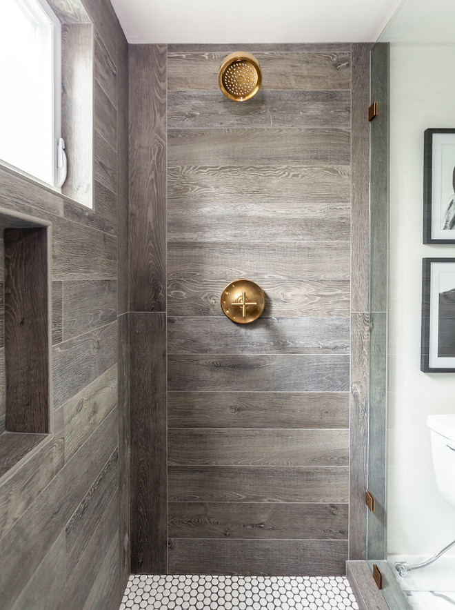 Farmhouse Shower. Farmhouse Bathroom Shower. The shower was designed to replicate the side of an old barn. Plumbing is Kohler - Purist. Juxtaposed InteriorsFarmhouse Bathroom Shower #FarmhouseBathroomShower #FarmhouseBathroom #FarmhouseShower