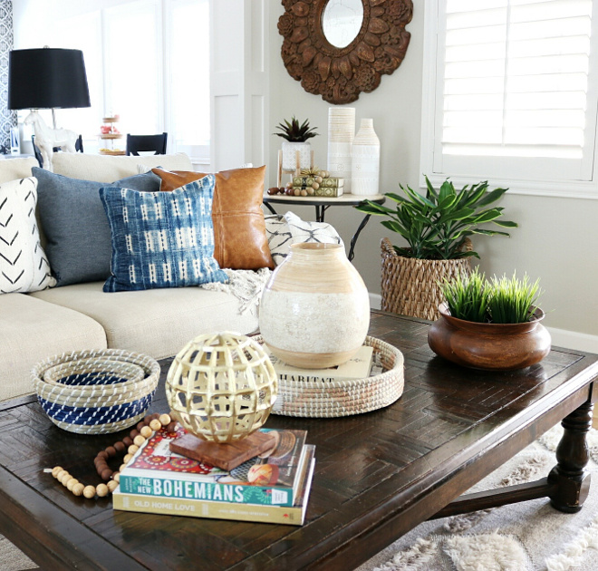 Farmhouse Coffee Table Styling. Farmhouse Coffee Table Styling Ideas. Stunning farmhouse-inspired living room with beautiful coffee table decor from HomeGoods. How to bring a farmhouse look into your living room coffee table #FarmhouseCoffeeTableStyling #Farmhouse #CoffeeTableStyling Jordan from @house.becomes.home