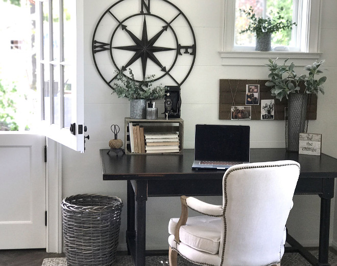 Farmhouse Home Office. Farmhouse Home Office with shiplap walls. Paint Color is Benjamin Moore Swiss Coffee #FarmhouseHomeOffice #shiplap #farmhouse #homeoffice Beautiful Homes of Instagram @SanctuaryHomeDecor