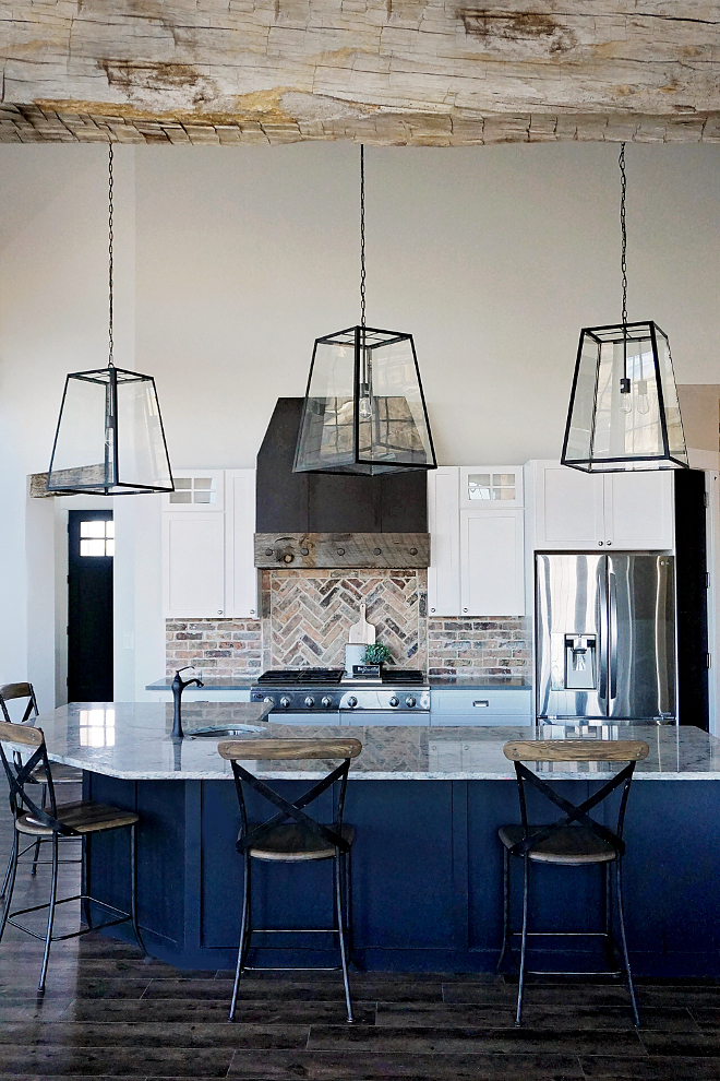 Farmhouse Kitchen with Thick Reclaimed Ceiling Beam and Large Island. Farmhouse Kitchen with Thick Reclaimed Ceiling Beam and Large Island. Farmhouse Kitchen with Thick Reclaimed Ceiling Beam and Large Island #FarmhouseKitchen #Farmhouse #Kitchen #ThickReclaimedCeilingBeam #ThickReclaimedBeam #LargeIsland Home Bunch's Beautiful Homes of Instagram @household no.6
