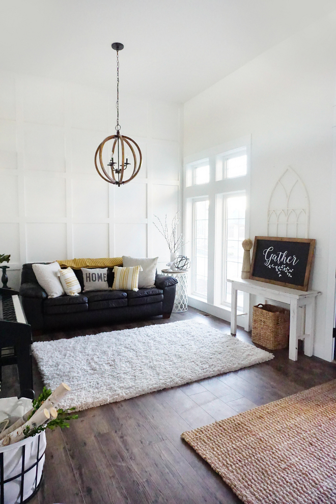 Farmhouse Living Room. Farmhouse Living Room. The wood orb chandelier is from Amazon. Farmhouse Living Room. Farmhouse Living Room #FarmhouseLivingRoom #Farmhouse #LivingRoom Home Bunch's Beautiful Homes of Instagram @household no.6