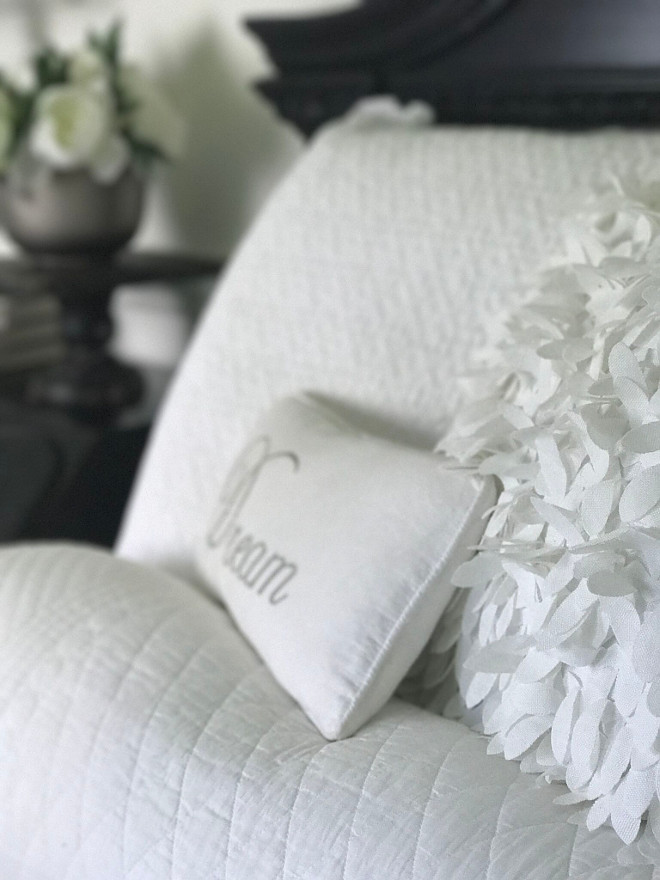 Farmhouse bedroom linens. The bed was originally a distressed cream color, but we painted it black to match the other furniture in the room and I added crisp white linens for a fresh look. Beautiful Homes of Instagram @SanctuaryHomeDecor