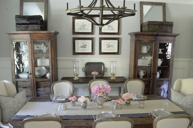 Farmhouse dining room decor. I often use my vintage silver as vases and layer linens, plates and napkins when we have guests over. Truth be told, I could spend hours setting a beautiful table. Dining room decor #FarmhouseDiningroom #Diningroom #decor Beautiful Homes of Instagram @SanctuaryHomeDecor