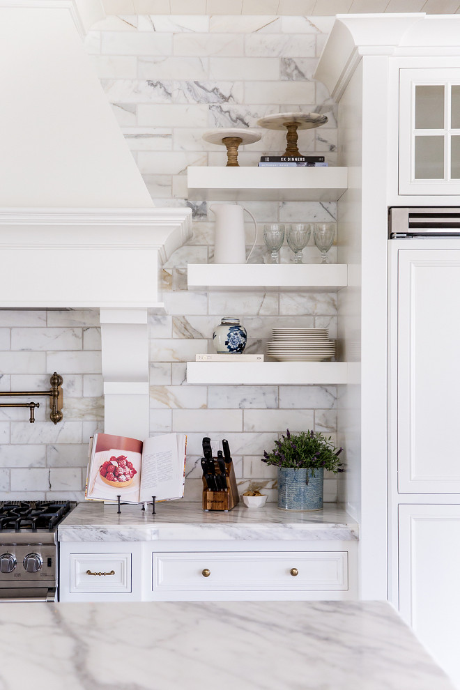 Floating Shelves against Carrara marble subway tile. Kitchen with Floating Shelves against Carrara marble subway tile. Kitchen with Floating Shelves against Carrara marble subway tile Backsplash #Kitchen #FloatingShelves #kitchenshelves #Carraramarble #marblesubwaytile #backsplash Pink Peonies Rachel Parcell's Kitchen