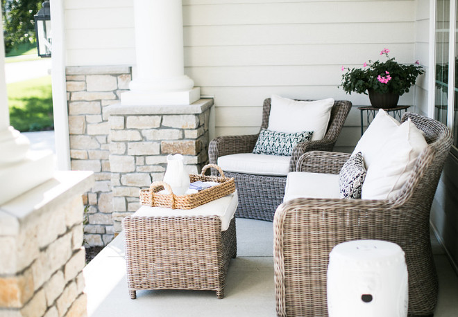 Front Porch Wicker Furniture Ideas. The porch furniture is by Summer Classics. Front Porch Wicker Furniture. Front Porch Wicker Furniture Ideas #FrontPorch #WickerFurniture Bria Hammel Interiors