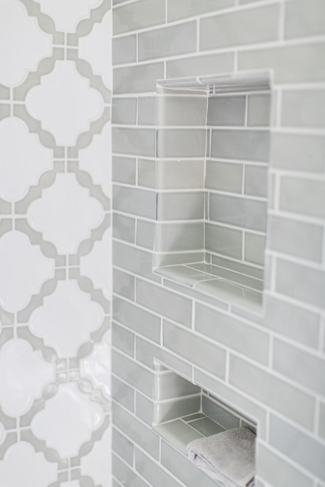 Gray Bathroom Tile. Gray Bathroom Tile Ideas, I used two different tiles for the shower, a grey subway tile and a lattice pattern for the back wall. Both are from The Tile Shop. Gray Bathroom Tile Combination #GrayBathroomTile Home Bunch Beautiful Homes of Instagram @finding__lovely