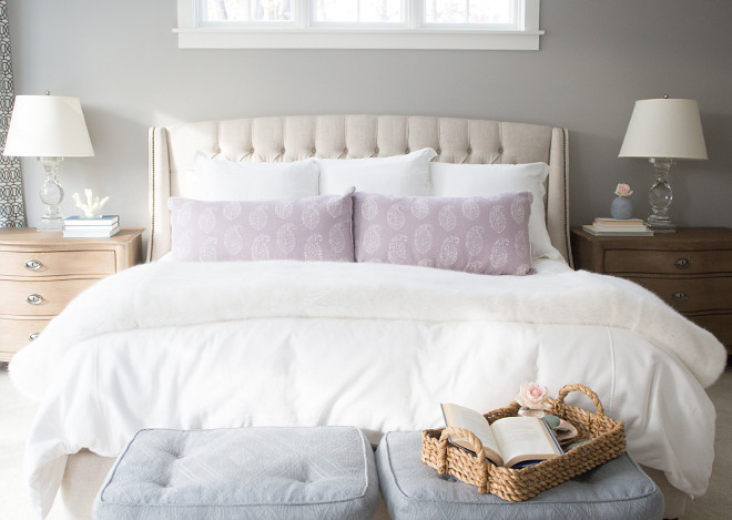 Grey Master Bedroom Paint Color Benjamin Moore Ozark Shadows. Benjamin Moore Ozark Shadows is a great grey for bedrooms. Benjamin Moore Ozark Shadows #BenjaminMooreOzarkShadows Bria Hammel Interiors