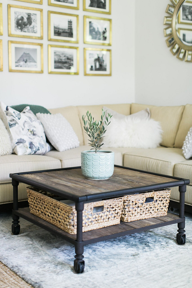 Industrial Farmhouse Coffee Table. Industrial Farmhouse Coffee Table Ideas. Industrial Farmhouse Coffee Tables. Coffee table from Restoration Hardware, baskets from Homegoods. The baskets are a lifesaver, hiding all the clutter of daily life—magazines, ipads, laptops. Industrial Farmhouse Coffee Table #IndustrialFarmhouseCoffeeTable #IndustrialFarmhouseCoffeeTables #IndustrialFarmhouse #CoffeeTable #Farmhousecoffeetable Home Bunch Beautiful Homes of Instagram @finding__lovely