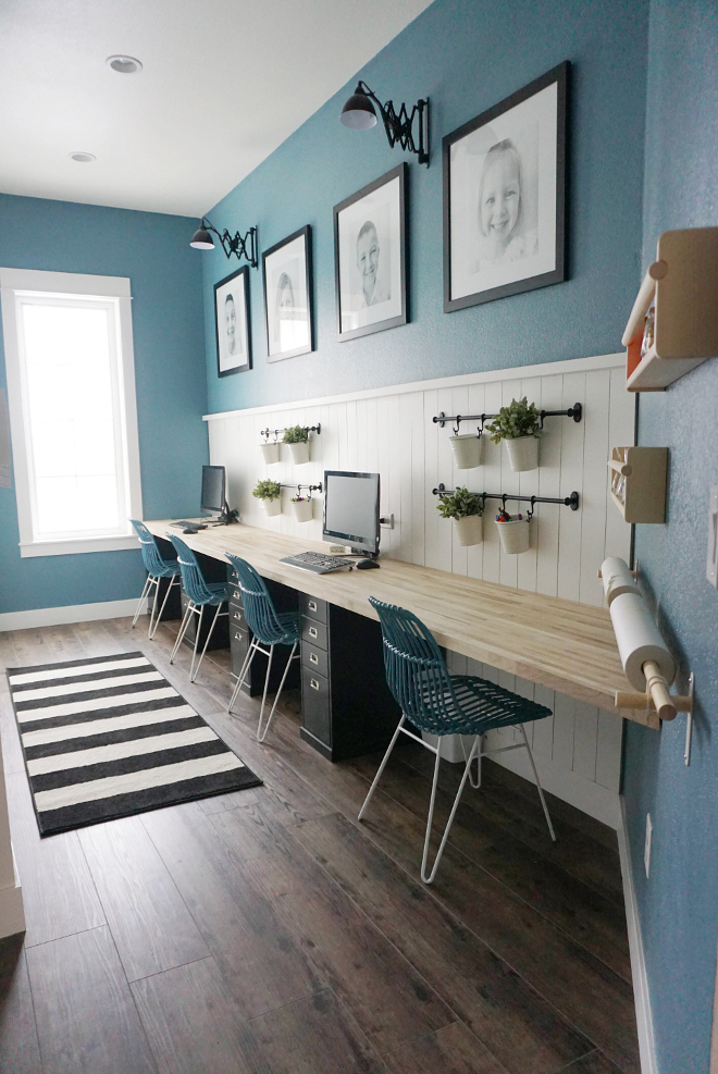 Kids Computer Area with Built-in Desk and Lower Cabinets by Lowes. #KidsComputerArea #BuiltinDesk #LowerCabinets #cabinets #Lowes Home Bunch's Beautiful Homes of Instagram @household no.6