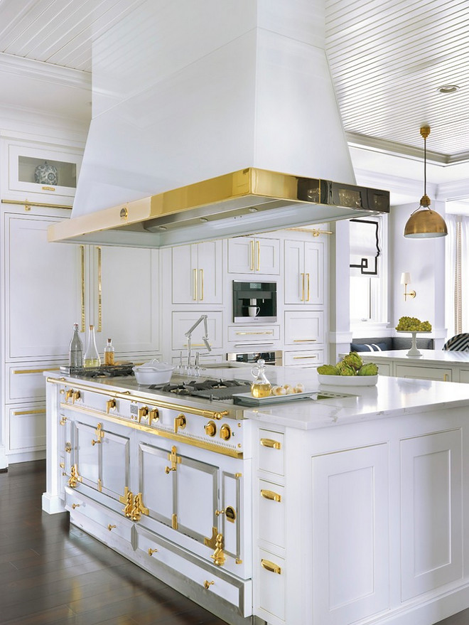 La Cornue range with custom hood. White La Cornue with brass. La Cornue Range. White Hamptons kitchen with brass hardware and white La Cornue range #LaCornuerange #customhood #WhiteLaCornue #brass #LaCornue #Range #WhiteHamptonskitchen #Hamptonskitchen #brasshardware #whiteLaCornue Mitchell Wall Architecture & Design