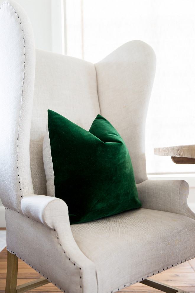 Linen Wingback Host Chair with Green Velvet Pillow. Restoration Hardware Linen Wingback Host Chair with Green Velvet Pillow. Linen Wingback Host Chair with Green Velvet Pillow. Restoration Hardware Linen Wingback Host Chair with Green Velvet Pillow Ideas #LinenWingbackChair #HostChair #GreenVelvetPillow #RestorationHardwareLinenWingbackChair Rachel Parcell Pink Peonies