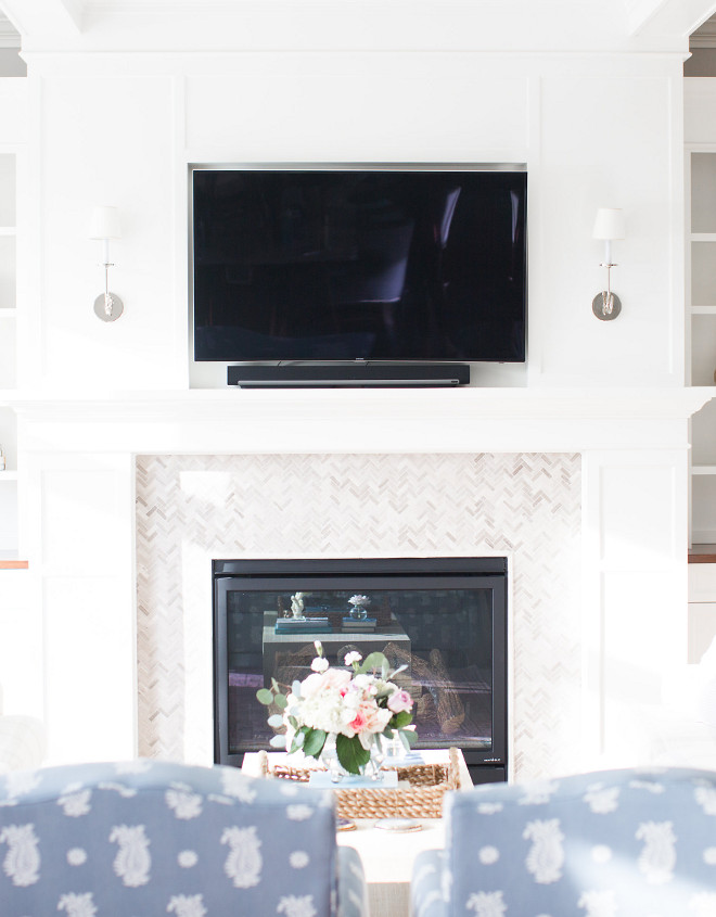 Mini tile ideas. Fireplace Mini tile surround. the mini tile is the small Legno herringbone from Tile Shop. The fireplace mini tile is the small Legno Herringbone from Tile Shop. #minitile #fireplacetile #fireplace #tile #fireplaceminitile Bria Hammel Interiors