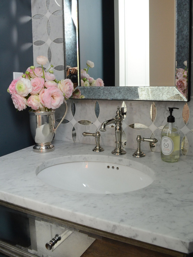 Mirrored Vanity with white marble countertop Restoration Hardware Mirrored Vanity with white marble countertop #RestorationHardware #MirroredVanity #whitemarblecountertop Beautiful Homes of Instagram @SanctuaryHomeDecor