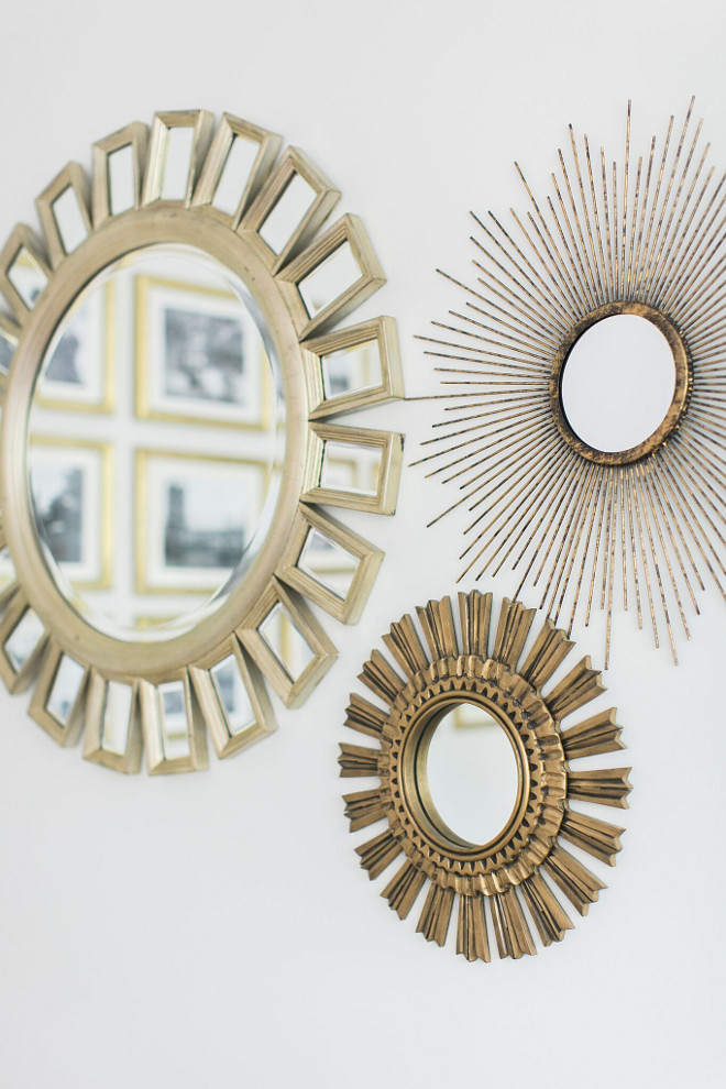Mirrors #Mirrors The adjacent wall has a trio of starburst mirrors, the biggest from Z Gallerie, the medium by Ballard Designs and the smallest from Target which I gold leafed. Home Bunch Beautiful Homes of Instagram @finding__lovely