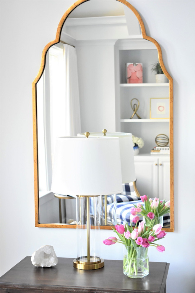 Nightstand Mirror Ideas. Bedroom with mirror above nightstand. Mirror is by Image Home. Nightstand Mirrors #Nightstand #Mirror Kate Abt Design