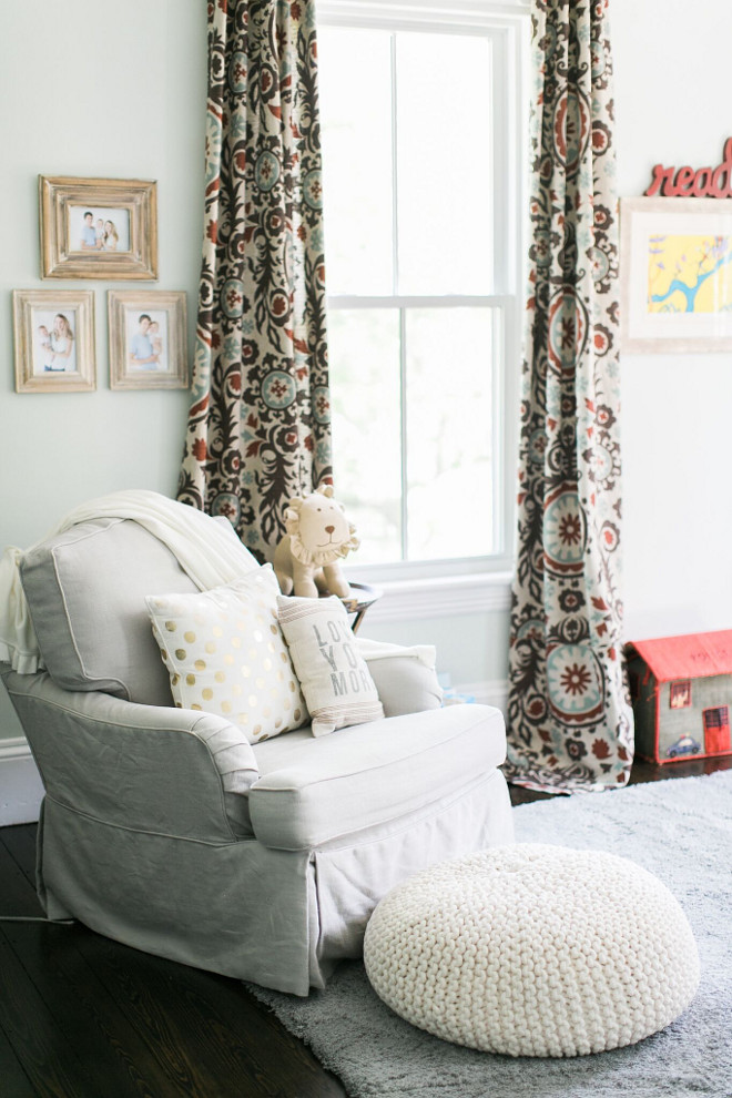 Nursery Curtains. Nursery Curtains. Fabric is from onlinefabricstore and is the Suzani Nile/Denton. The glider is from Restoration Hardware. Nursery Curtain Ideas #NurseryCurtains Home Bunch Beautiful Homes of Instagram @finding__lovely