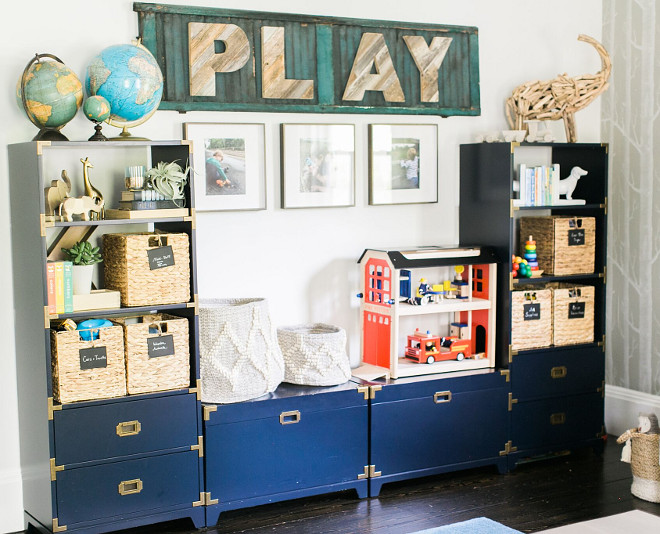 Playroom Storage Cabinet. Playroom Storage Cabinet Ideas. Custom built-ins were not in the budget for the playroom. I waited until Land of Nod had a sale and bought two bookcases and two toy boxes. Perseverance pays off—they look like a solid unit and add interest to the space. Playroom Storage Cabinets. Playroom Storage Cabinet #PlayroomStorageCabinet #PlayroomStorageCabinets #PlayroomStorage #PlayroomCabinet Home Bunch Beautiful Homes of Instagram @finding__lovely