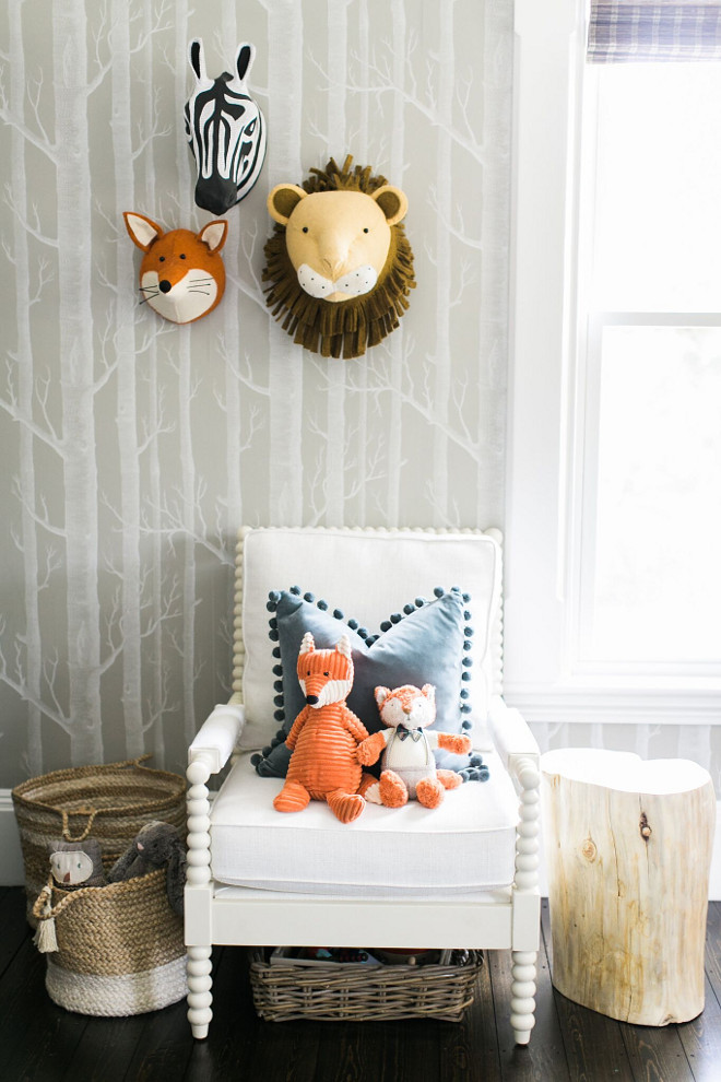 Playroom Wall Decor. Playroom Wall Decor. Playroom Wall Decor. I really believe it is the details that make a space lovely and my favorite detail in this room is the Cole and Son Wallpaper wall. Cole and Son Woods in Taupe. #Playroom #WallDecor Home Bunch Beautiful Homes of Instagram @finding__lovely