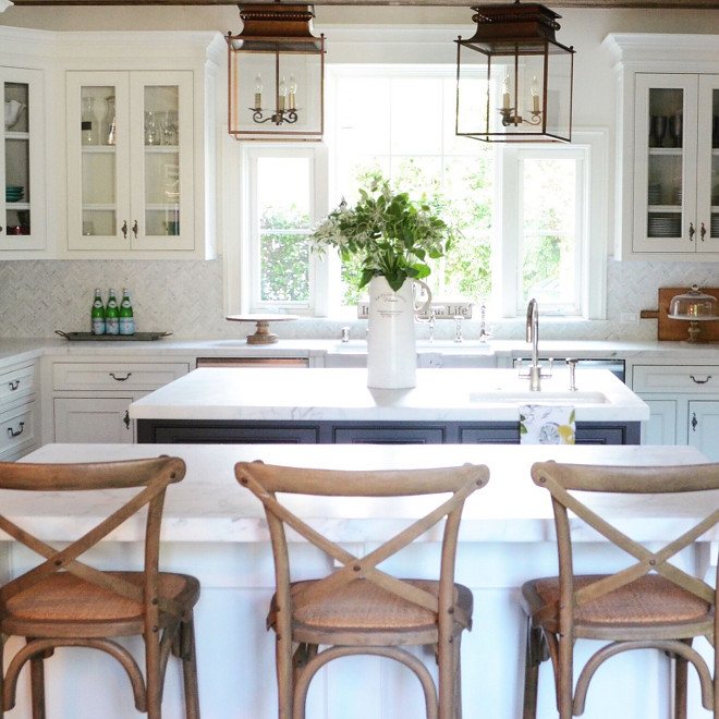 Prep Kitchen Island. Prep Kitchen Island Ideas. Rather than one large island, we decided on a prep island with a sink, and a separate eating island. Prep Kitchen Island Layout #PrepKitchenIsland #Prepisland #KitchenIsland Beautiful Homes of Instagram @SanctuaryHomeDecor
