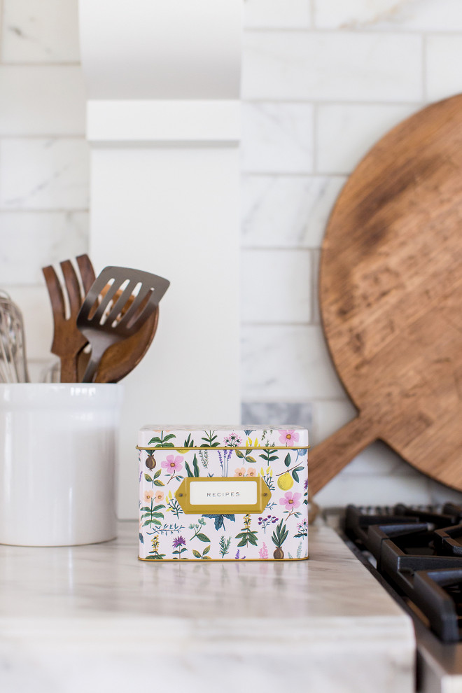 Recipe Box. Kitchen recipe box. Adorable recipe box. Kitchen countertop decor ideas. Herb Garden Recipe Box #Kitchen #countertopdecor #recipebox Pink Peonies Rachel Parcell's Kitchen
