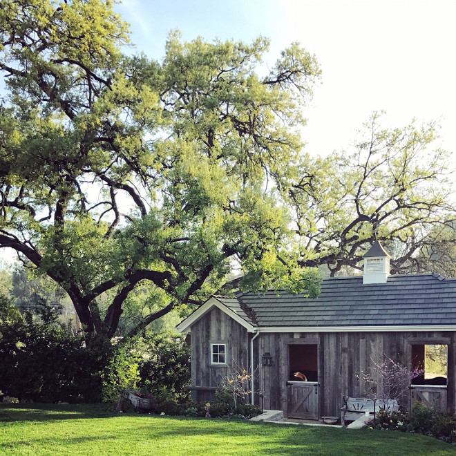 Reclaimed wood barn. Small reclaimed wood barn. Two of our horses live in the newly constructed reclaimed wood barn at the back of our yard. Backyard reclaimed wood barn. reclaimed wood barn #reclaimedwoodbarn #smallbarn #backyard #barn Beautiful Homes of Instagram @SanctuaryHomeDecor