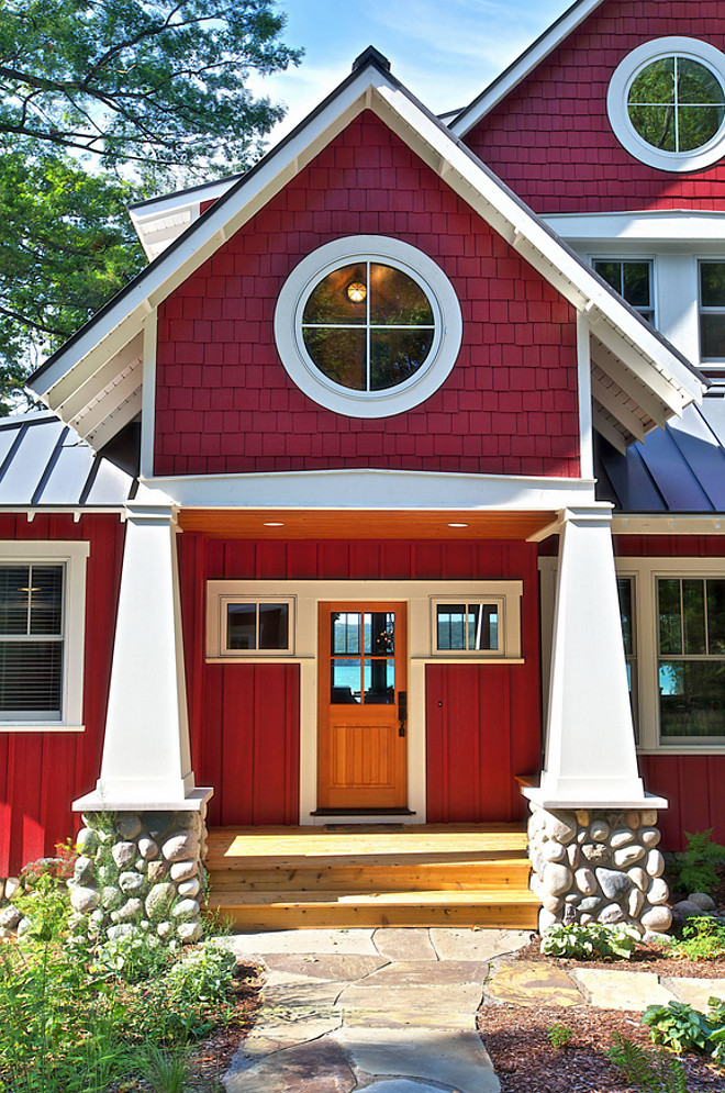 Red Shingle Cottage Craftsman Style tapered columns blend in with a stone. Craftsman Style tapered columns blend in with river rock #RedShingleCottage #ShingleCottage #CraftsmanStyletaperedcolumns #taperedcolumns #Porchtaperedcolumns #Porchcolumns #riverrock #riverrockPorchcolumns MAC Custom Homes