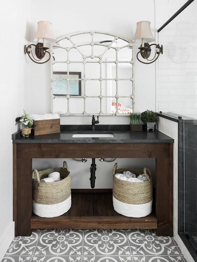 Rustic Farmhouse Bathtoom Vanity and Cement Floor Tile. Rustic Farmhouse Bathtoom Vanity and Cement Floor Tile Ideas. Beautiful Rustic Farmhouse Bathtoom Vanity and Cement Floor Tile #RusticFarmhouseBathtoom #RusticFarmhouseBathtoomVanity #CementFloorTile #RusticFarmhouse #FarmhouseBathtoom #RusticVanity #FarmhousebathroomCementile #cementFloorTileIdeas Willow Homes