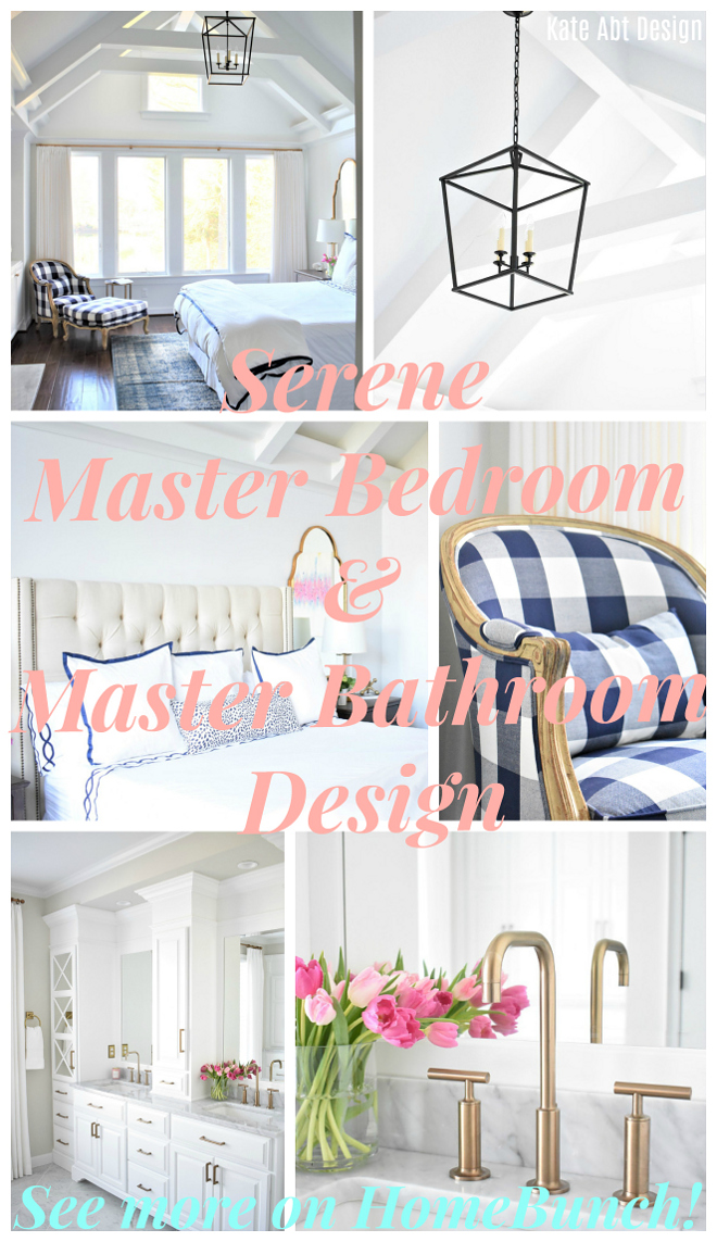 Serene Master Bedroom & Master Bathroom Design. Serene Master Bedroom & Master Bathroom Design Paint colors, decor sources and designer tips on Home Bunch #SereneMasterBedroom #MasterBathroom