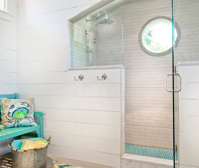 Shiplap Bathroom Tile. The ceramic tile used in the shower keeps the same shiplap look that we see on the walls  #shiplap #bathroom #tile Younique Designs