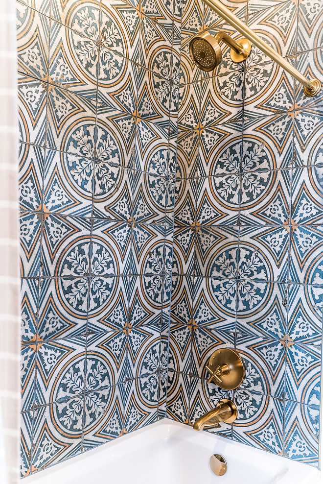 "Shower Bath Cement Tile Shower Cement Tile. Cement tile is All Modern Royalty 17.75"" x 17.75"" Ceramic Field Tile in Blue/White/Yellow Bath Cement Tile. Shower Bath Cement Tile Shower Cement Tile. Bath Cement Tile #ShowerBathCementtile #ShowerCementTile #BathCementTile #CementTile #BathroomCementTile #Cement #Tile Ramage Company"