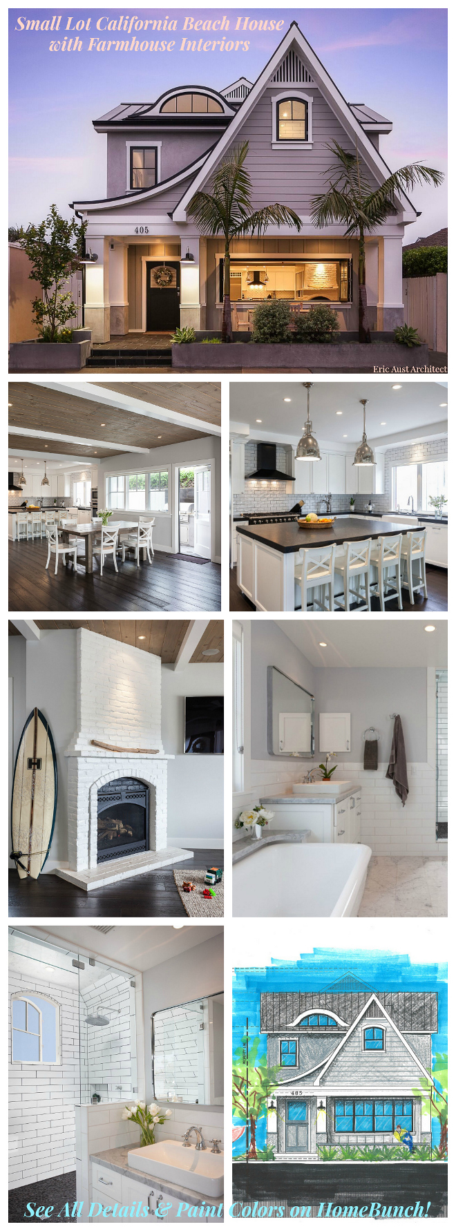 Small Lot California Beach House with Farmhouse Interiors