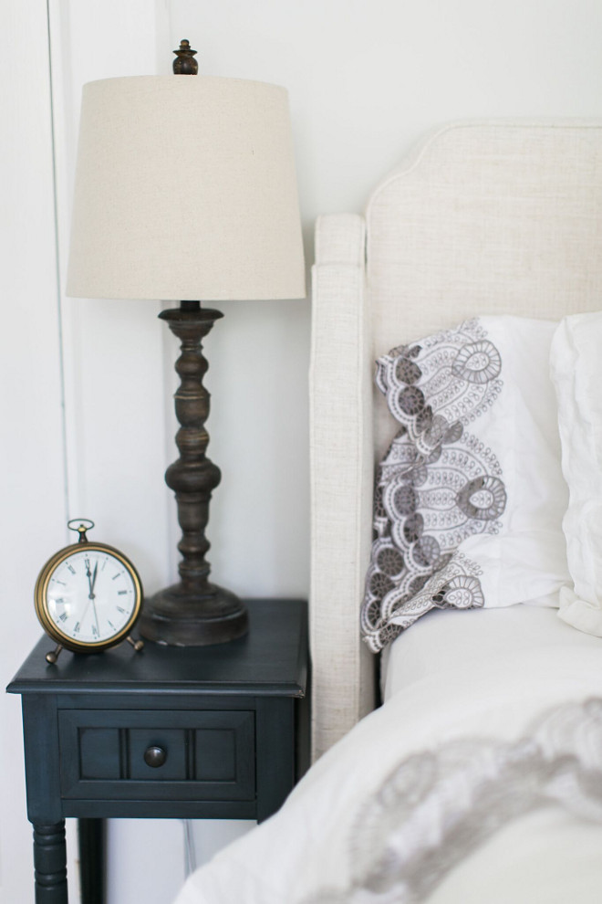 "Small nightstands. Small nightstand ideas. We have a king size bed and not a lot of space for nightstands. These nightstands are barely 12"" wide and are from Wayfair. Lamps are from HomeGoods. Small nightstand. #Smallnightstands #Smallnightstand #Smallnightstandideas Home Bunch Beautiful Homes of Instagram @finding__lovely"