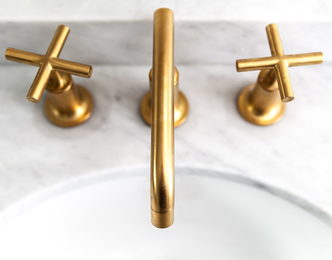 Brass Faucet. Kitchen Brass Faucet. The brass faucets are Kohler Purist. #BrassFaucet #Faucet Juxtaposed Interiors