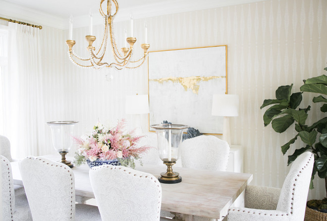 Traditional Dining Room. Wallpaper is Schumacher Fern and the chandelier is Visual Comfort, Niermann Weeks Collection Traditional Dining Room. Traditional Dining Room. #TraditionalDiningRoom Bria Hammel Interiors