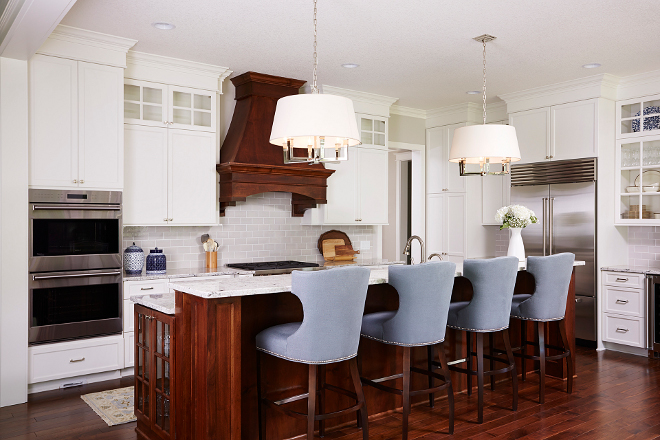 Traditional Kitchen. Traditional Kitchen Ideas. Traditional Kitchen. Traditional white Kitchen with walnut kitchen island #TraditionalKitchen #TraditionalKitchenIdeas #TraditionalKitchens Bria Hammel Interiors
