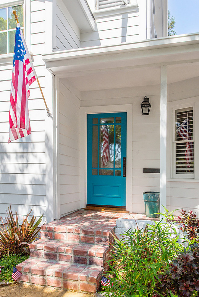 Turquoise Front Door Paint Color Benjamin Moore Meridian Blue. This blue turquoise color looks great on front doors Benjamin Moore Meridian Blue #BenjaminMooreMeridianBlue #turquoise #frontdoor #paintcolor #bluedoor #turquoisedoor #paintcolors Sato Architects