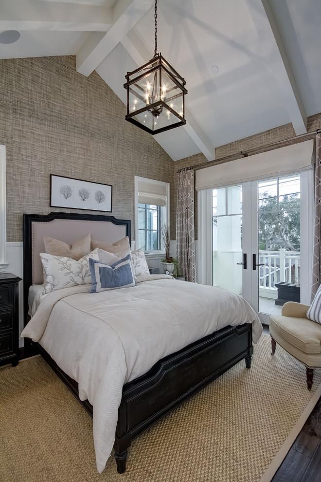 Vaulted Ceiling Bedroom. Vaulted Ceiling Bedroom. Vaulted Ceiling Bedroom and grasscloth wallpaper. Vaulted Ceiling Bedroom. Vaulted ceilings make this bedroom feels large and airy. #VaultedCeiling #VaultedCeilingBedroom #Bedroom Brandon Architects, Inc.