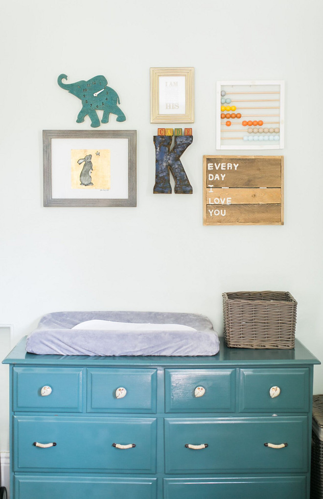 Vintage Nursery Dresser. Vintage Nursery Dresser Ideas. The dresser was a Craigslist find that I painted a deep teal and added Anthropologie hardware. Vintage Nursery Dresser. Painted Vintage Nursery Dresser #VintageNurseryDresser #NurseryDresser #PaintedNurseryDresser Home Bunch Beautiful Homes of Instagram @finding__lovely