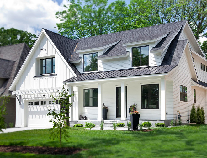 White Farmhouse Exterior. White Farmhouse Exterior: This modern farmhouse features Marvin Ebony clad windows, dark bronze metal roofing, charcoal colored roof shingles, and Bluestone stone at stoop/sidewalk. The exterior body color is Benjamin Moore OC-17 White Dove. White Farmhouse Exterior Ideas. #WhiteFarmhouseExterior #WhiteFarmhouse #Roof #Windows #Paintcolor #sidingpaintcolor #BenjaminMooreWhiteDove Refined LLC