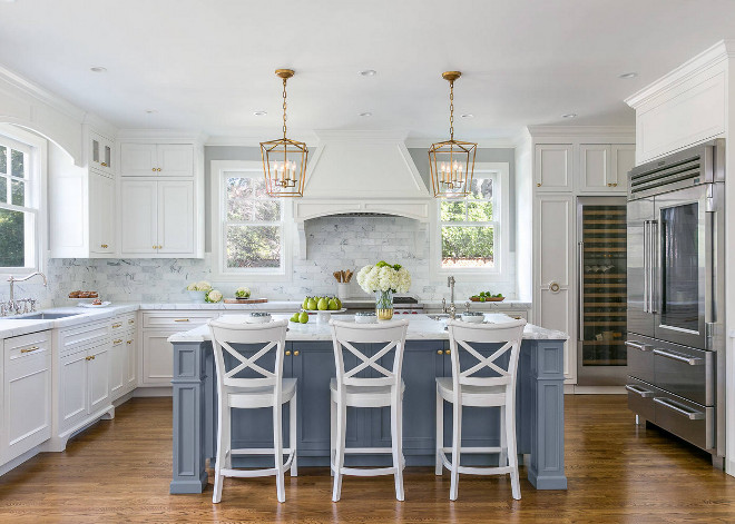 White Kitchen with Stacked Cabinets and Grey Island - Home ...