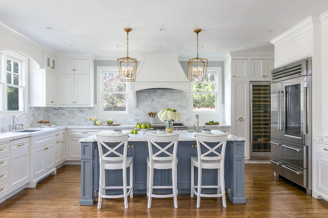 White Kitchen With Stacked Cabinets And Grey Island. White Kitchen With  Stacked Cabinets And Grey