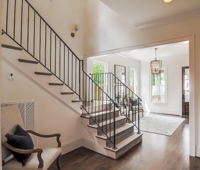 White Oak Foyer Flooring. Foyer features white oak flooring and metal staircase railing. White Oak Foyer Flooring Ideas. White Oak Foye #WhiteOak #Foyer #FoyerFlooring #whiteoakflooring Domaine Development