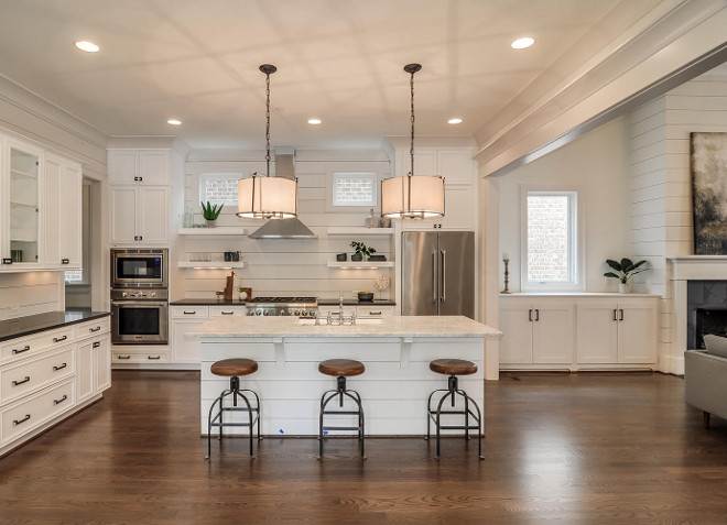 White Shiplap Kitchen Gorgeous With Backsplash And