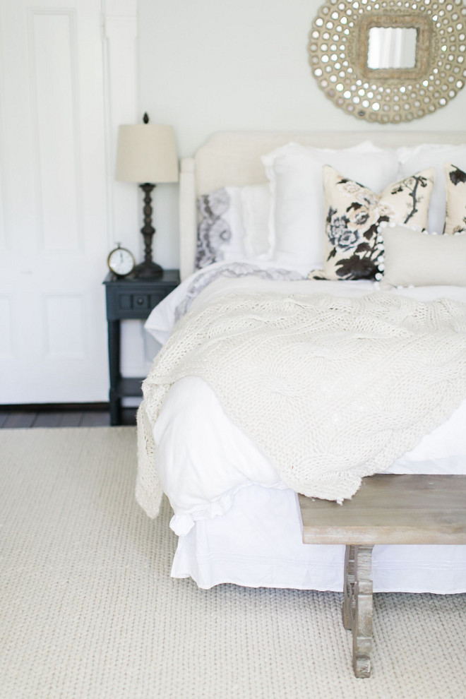 White and off white bedroom. Neutral White and off white bedroom. I wanted soothing and neutral in our master bedroom. The bedding is white with a pop of pattern in the Schumacher floral pillows. The rug is a braided wool rug from Rugs USA, 9x12. It fits nicely in the space and is very soft underfoot. Neutral White and off white bedroom ideas. White and off white bedroom. Neutral White and off white bedroom. Neutral White and off white bedroom ideas. White and off white bedroom. Neutral White and off white bedroom. Neutral White and off white bedroom ideas #NeutralWhitebedroom #neutrals #neutralbedroom #neutralbedrooms #offwhitebedroom #bedroomideas Home Bunch Beautiful Homes of Instagram @finding__lovely